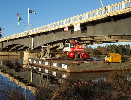 Nov. 2015 : Travaux sous un pont à Vichy (Grands Dragages du Centre)